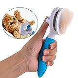 Racksoy Fellpflege Katzenbürste Hundebürste Effektive Fellbürste mit Reinigungsknopf gegen Verfilzungen für kleines Tier