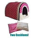 ANPI 2 in 1 Haustier Haus und Sofa, Maschinenwaschbar Anti-Rutsch Faltbare Weich Warm Hund Katze Hündchen Kaninchen Haustier Nest Höhle Bett Haus mit Abnehmbarem Matratze, 3 Größen