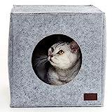 PiuPet Katzenhöhle inkl. Kissen, Passend für z.B. IKEA Kallax & Expedit Regal, Kuschelhöhle in grau