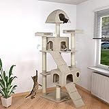 happypet Kratzbaum für Katzen groß 181 cm hoch, CAT002-4, Kletterbaum Katzenbaum für mehrere Katzen geeignet, dicke Säulen mit Sisal ca. 8 cm, Haus, Lauframpen, Aussichtsplattformen, Spielmaus, BEIGE