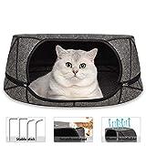 GoZheec Katzenhöhle Bett Filz,2 IN 1 Kuschelhöhle für Katzen mit Reißverschluss Katzennest Waschbare und abnehmbare Haustier Nest (Grau)