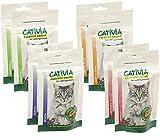 Dehner Cativia Katzensnack, Prebiotic Knusperkissen-Mix, je 2 x 4 verschiedene Sorten, 8 x 50 g (400 g)