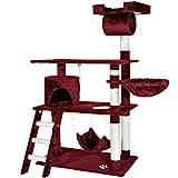 TecTake 800294 Katzen Kratzbaum mit vielen Kuschel- und Spielmöglichkeiten, 141cm hoch, extra breit - Diverse Farben - (Weinrot   Nr. 401856)