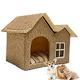 DYYTR Indoor Katzenhaus/EIN extra Stabiler Covered Innenkatze-Bett-Wohnung zusammenklappbarer/Pet House Shelter für Hunde und andere Haustiere zu,Two