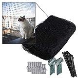 NEEZ Verstärktes Katzennetz aus HDPE Material für Balkon & Fenster 3x8m I Grünes Katzennetz inkl. Befestigungsset I Befestigung ohne Bohren möglich