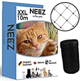 NEEZ XL Katzennetz für Balkon & Fenster I Robustes Schutznetz inkl. Befestigungsset I Befestigung des Katzenschutznetz für Balkon ohne Bohren (2,5 x 10 Meter)