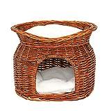 dibea Weidenkorb für Katzen Katzenhöhle Katzenkorb mit Kissen 55x39x43 cm Braun