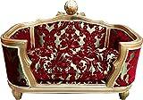 Harald Glööckler Pompöös by Casa Padrino Luxus Barock Hunde & Katzenbett Deluxe Bordeaux Bouquet Muster/Gold