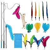 Katzenspielzeug Katze Toys, interaktives Katzen Spielzeug mit Federn, 12 Stück Katzenangel Ersatz mit Glocken Federspielzeug und 2 Skalierbar Stangen 1 Katzenfeder-Teaser, mit Aufbewahrungstasche