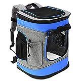 Pawsse Dog Backpack Pet Carrier Rucksack für Katzen und Hunde bis 15 Pfund Outdoor Travel Carrier für Haustiere Wandern, Walken, Radfahren & Outdoor 16' H x13.2 L x12 W Blau