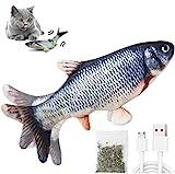 HonLena Katzenspielzeug Elektrisch Fischs,interaktives zappelnder Fisch Spielzeug für Katzen USB Elektrische Plüsch Fisch Spielzeug Fisch mit Katzenminze für Katze zu Spielen,Beißen,Kauen und Treten