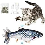 Katzenspielzeug Elektrische Fische mit Katzenminze, Katze Interaktive Spielzeug USB Charge Plüsch Fisch Spielzeug Fisch