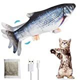 PiAEK Elektrisches Spielzeug Fisch, Katzen Interaktive Fisch Bewegung Katzenminzenspielzeug USB Elektrische für Katze zu Spielen, Beißen, Kauen und Treten (Grey)