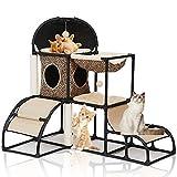 LBLA Kratzbaum Katzen stabil Kletterturm für Kätzchen mit Kratzbaum Katzenturm Aktivitätscenter mit Hängematte,Geeignet für mehrere Kätzchen, Abnehmbarer Kratzbaum, leicht zu tragen