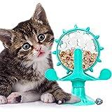 Windmühle Katzenspielzeug, Multifunktionale Rotierende Windmühle Futter Undichtes Spielzeug mit Leistungsstarkem Saugnapf Futterausgabe für Interaktives Haustier Spielzeug in Innenräumen, Türkis