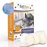 BellMietz® Katzennetz für Balkon & Fenster (durchsichtig)   Extragroßes 8x3m Katzenschutz-Netz ohne Bohren   Balkonschutz Inkl. 25m Befestigungsseil   Balkonnetz transparent mit gratis eBook