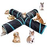 4-Wege-Katzentunnel, groß, für den Innen- und Außenbereich, zusammenklappbar, mit Aufbewahrungstasche für Katzen, Hunde, Welpen, Kätzchen, Kaninchen