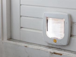 Katzenklappe in Tür eingebaut