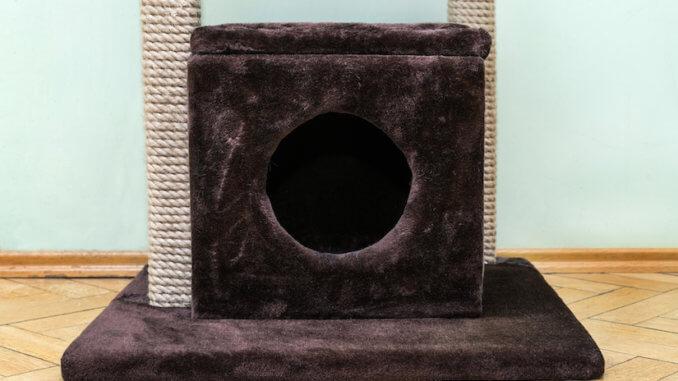 Schwarze Kratztonne für die Katze